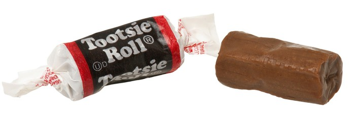 Tootsie Roll wrapped and unwrapped.