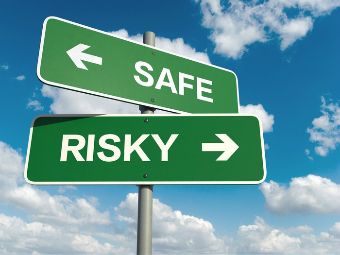 """Two green street signs, one reading """"safe"""" and the other """"risky,"""" point in opposite directions."""