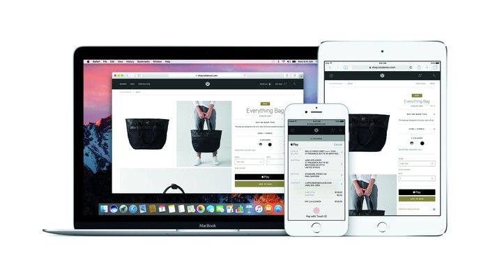 Apple Pay page being displayed on an Apple computer, iPad, and iPhone.