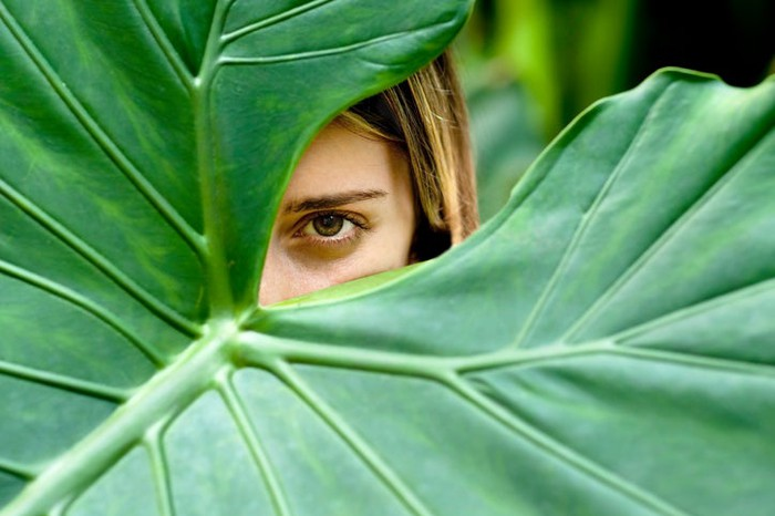 Young woman hiding behind large green palm leaf: only one eye and part of her face are visible.