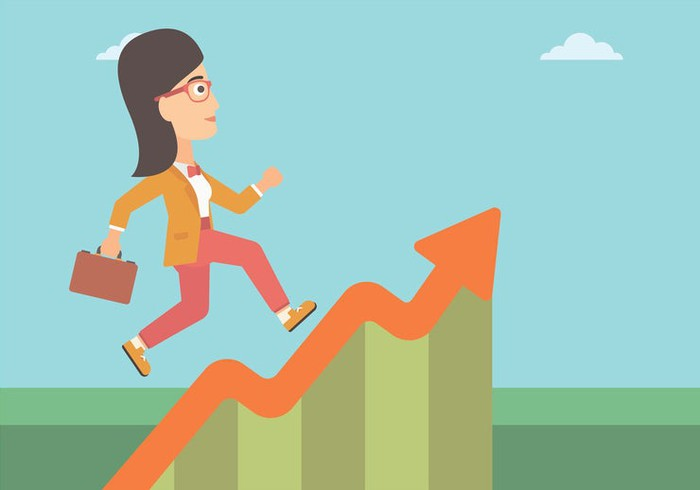Illustration of cheerful businesswoman holding briefcase, running up an upward sloping graph with blue sky and clouds in the background.