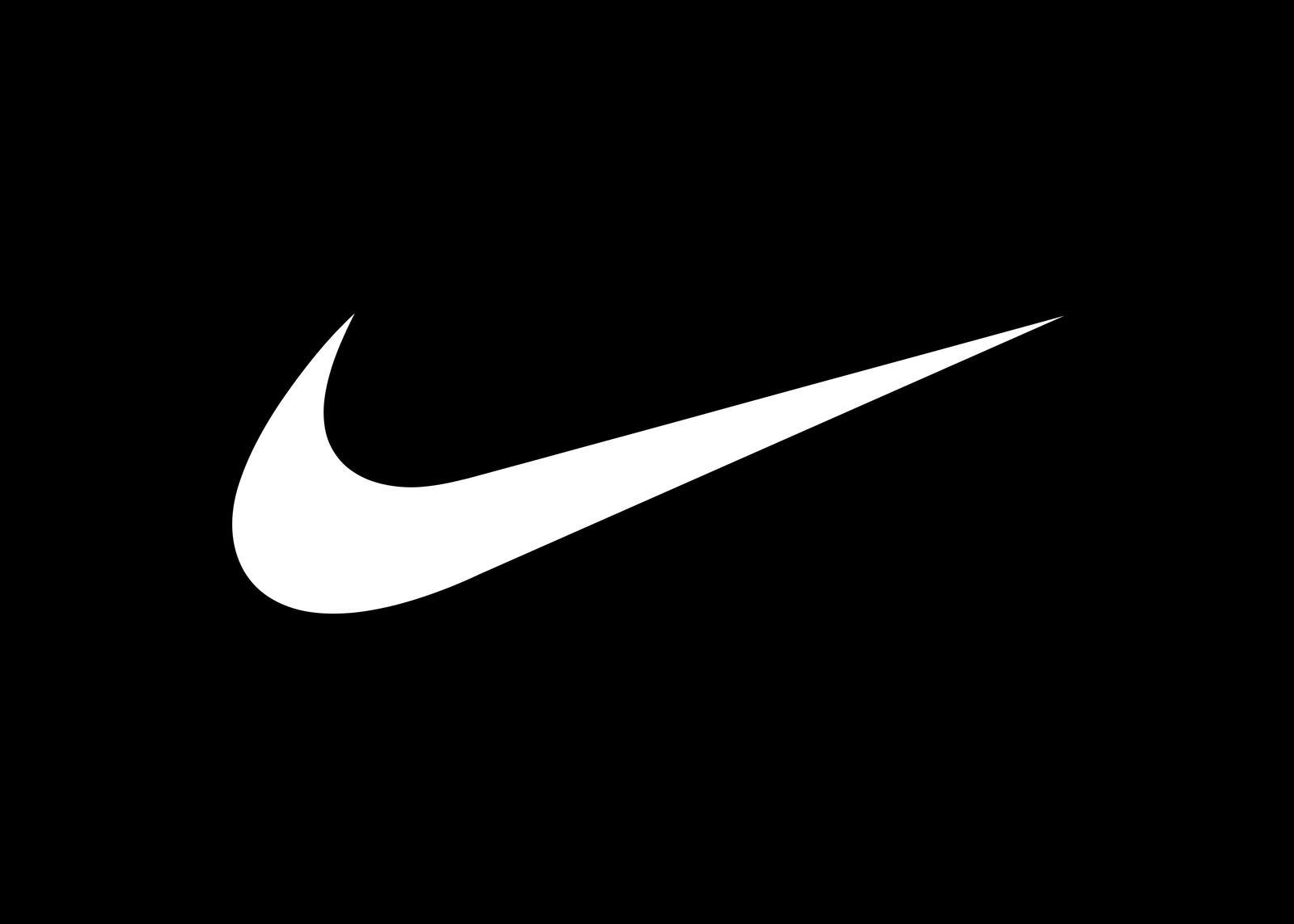 Nike white swoosh logo on black background.