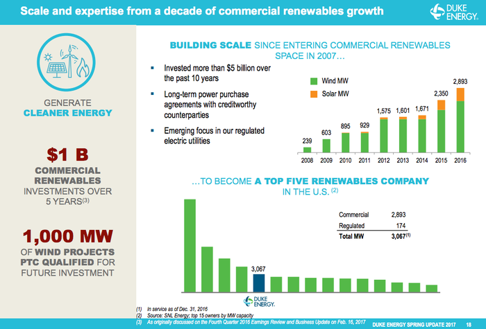 Growth in Duke Energy's renewable power business and scale within the industry.