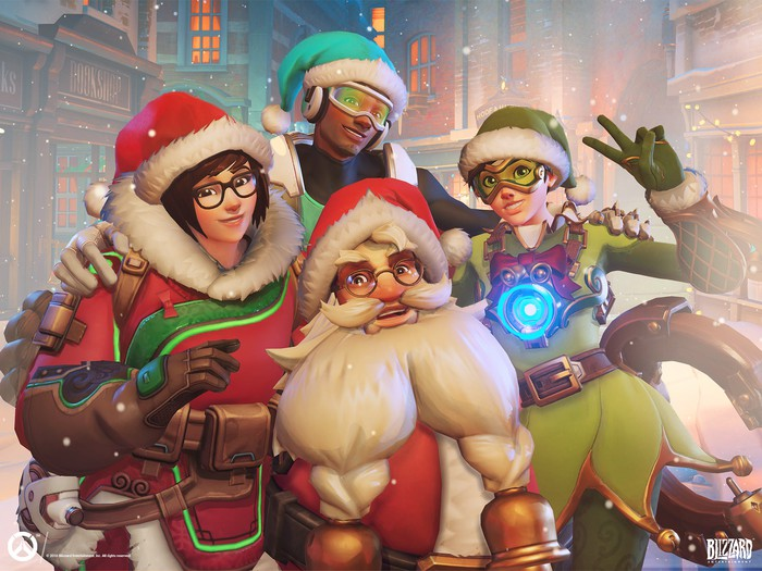 Four Overwatch characters posing in Santa Claus and elf outfits in a winter wonderland theme.