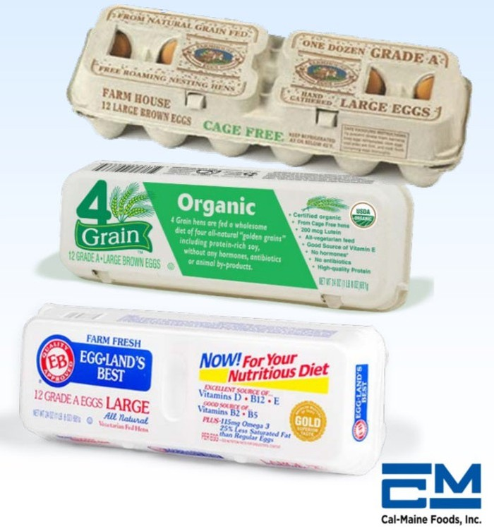 Three boxes of specialty eggs: cage-free, organic, and nutritionally enhanced.