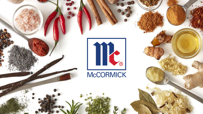 Ingredients for spices and herbs around McCormick logo.