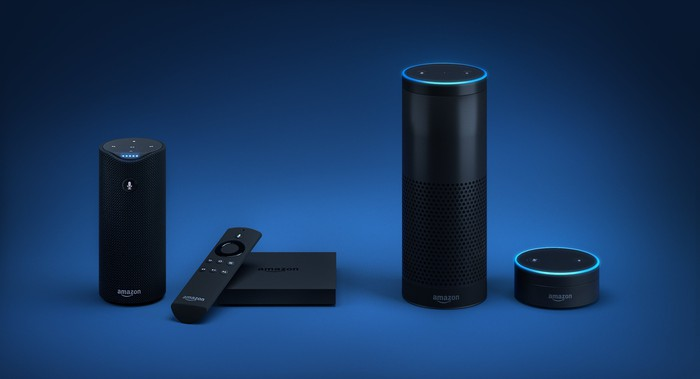 The Amazon Echo family of smart home speakers.