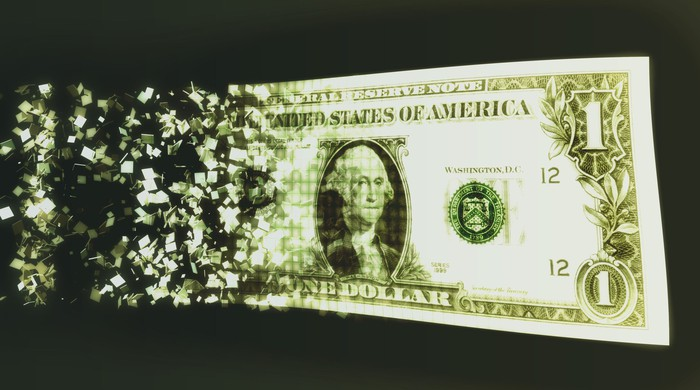 US dollar bill and binary code (Digital Composite).