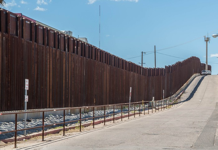 A wall on the U.S. border with Mexico.