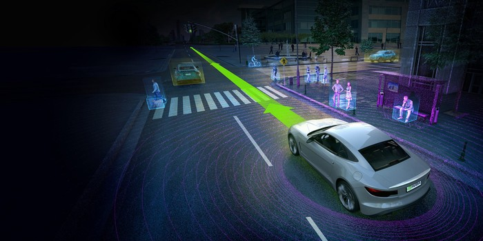 An artist's rendering depicts a self-driving car -- powered by chips made by NVIDIA -- driving down a street using its image sensing technologies.