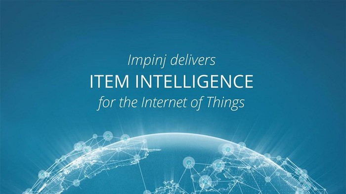 """The words """"Impinj delivers item intelligence for the Internet of Things,"""" hovering above a digital rendering of the globe."""