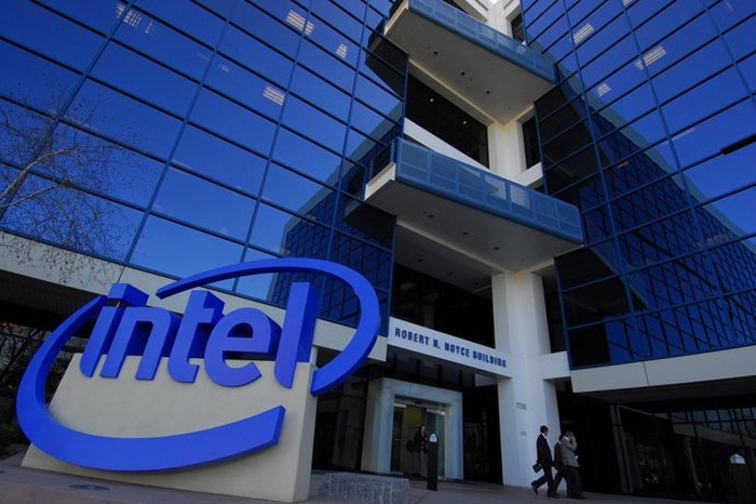 The exterior of Intel's headquarters.