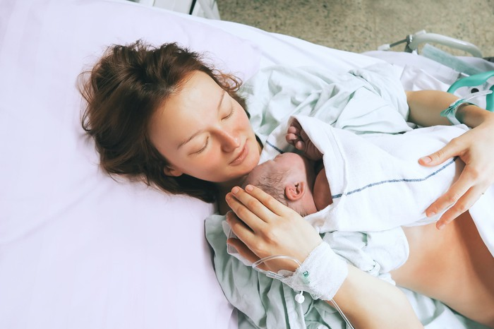 Mother and newborn in the hospital