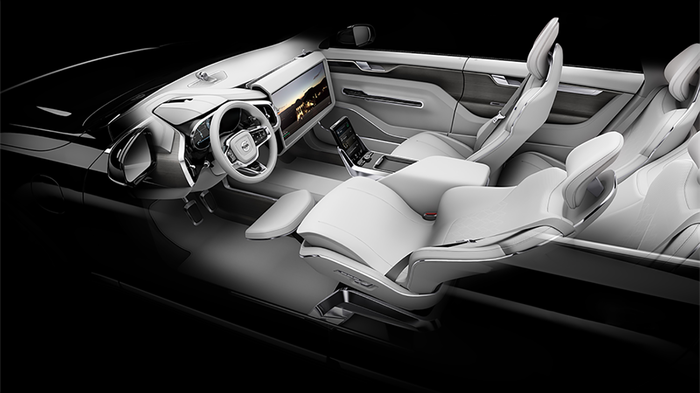 Interior Volvo driverless car.