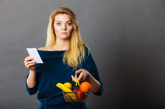 Shocked-looking woman holding small basket of produce and receipt