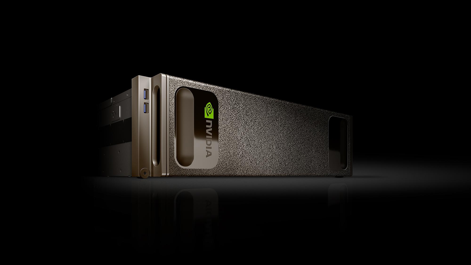 An NVIDIA DGX-1 AI chip, lying on its side.