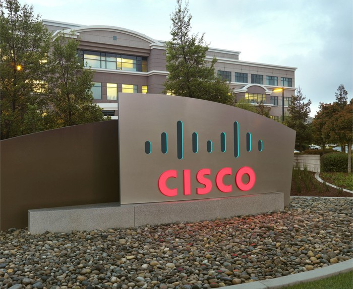 A sign in front of Cisco's offices.