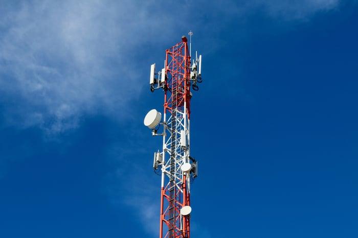 A telecommunications tower.
