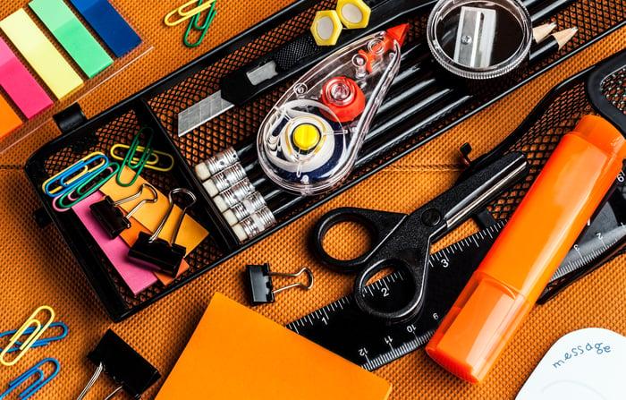 An assortment of office supplies