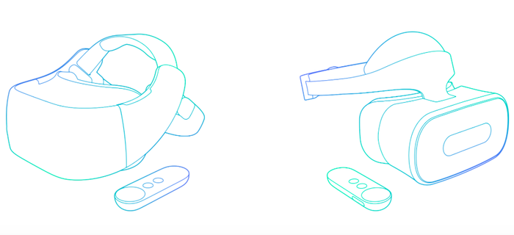 Image outlines of Google VR headsets.