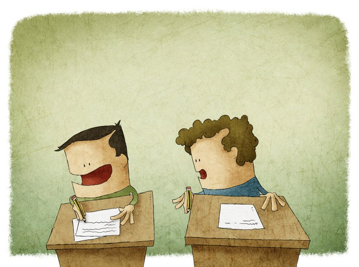 A cartoon of one child copying the test answers of another