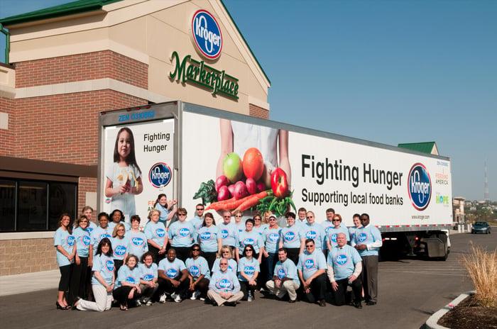 A group of volunteers outside of a Kroger supermarket