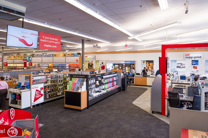 The interior of a Staples store