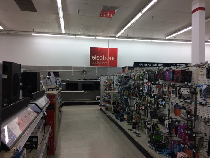 A nearly empty section at Kmart