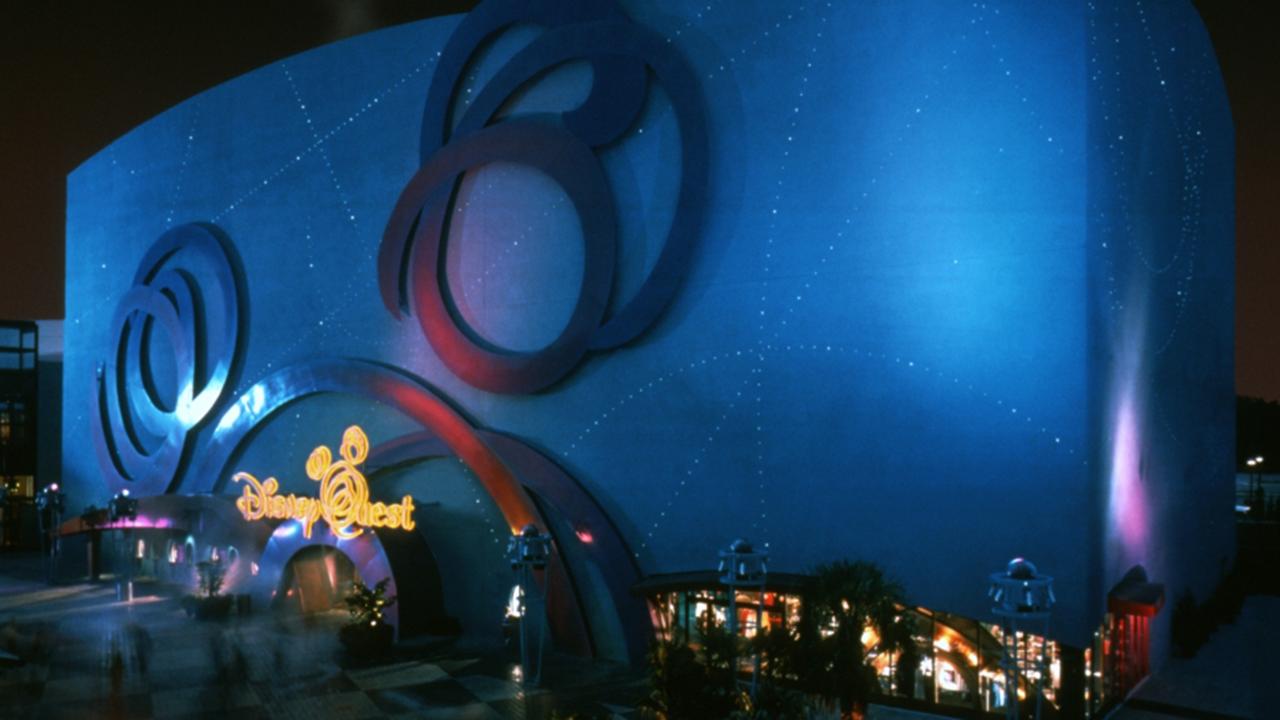 Exterior shot of DisneyQuest at night.