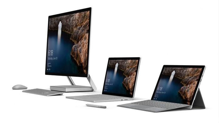 Surface Studio, Surface Book, and Surface Pro