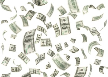 Dividend money flying in the air