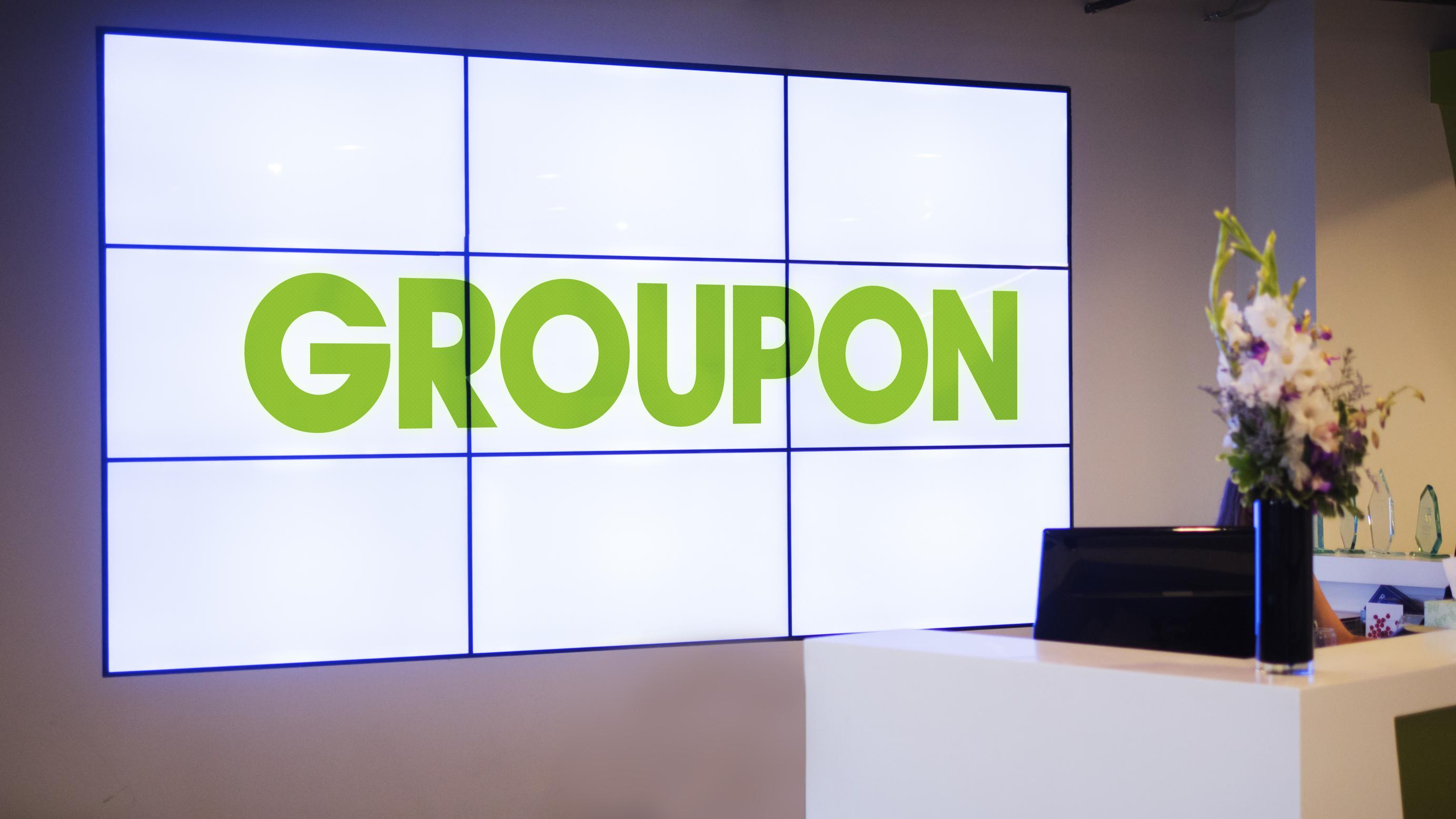 Groupon video wall at its office.