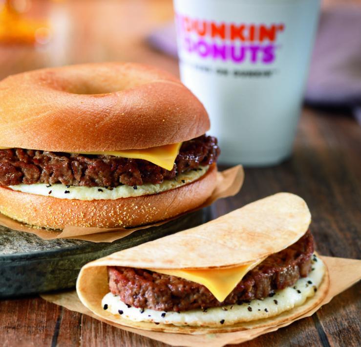 Two Dunkin' Donuts steak sandwiches