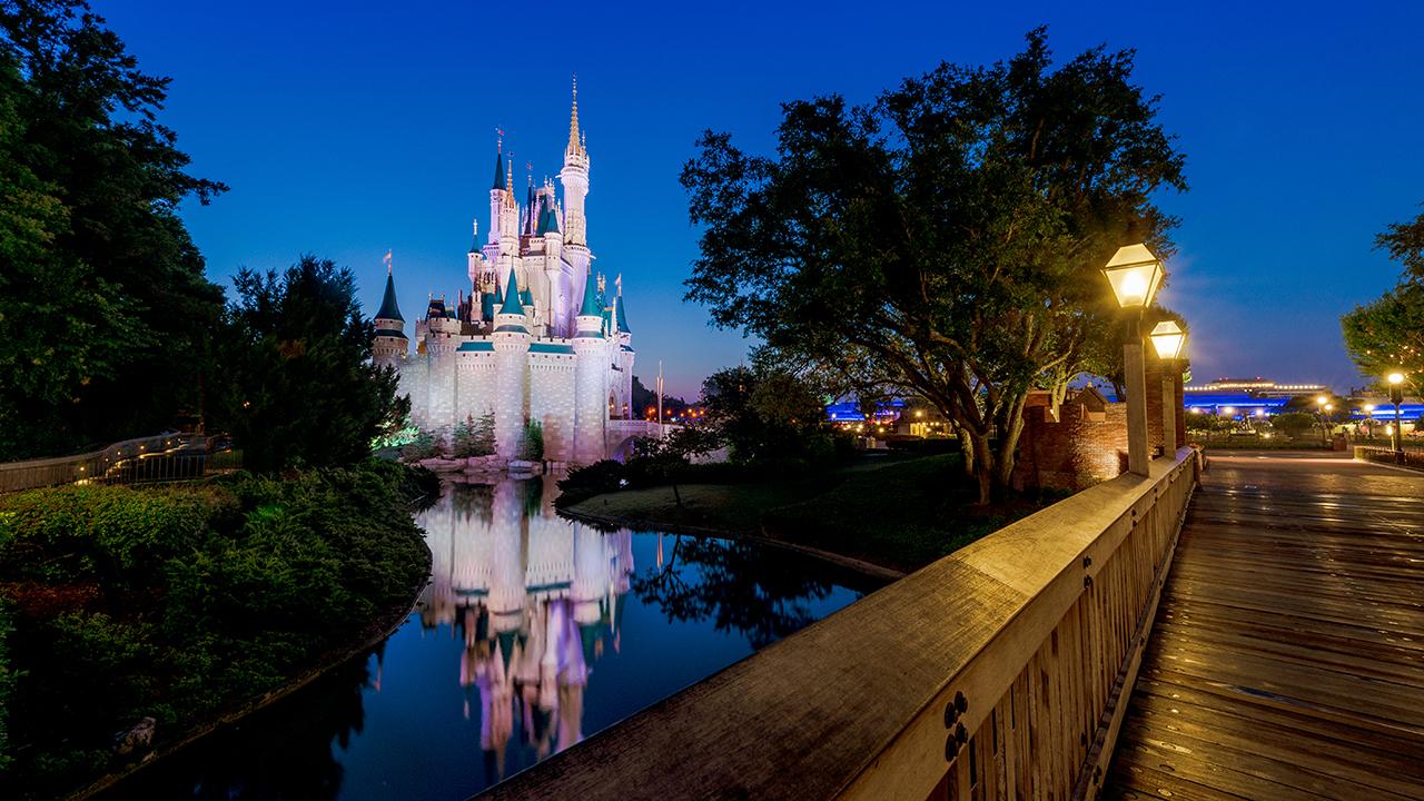 Disney's Cinderella Castle at night.