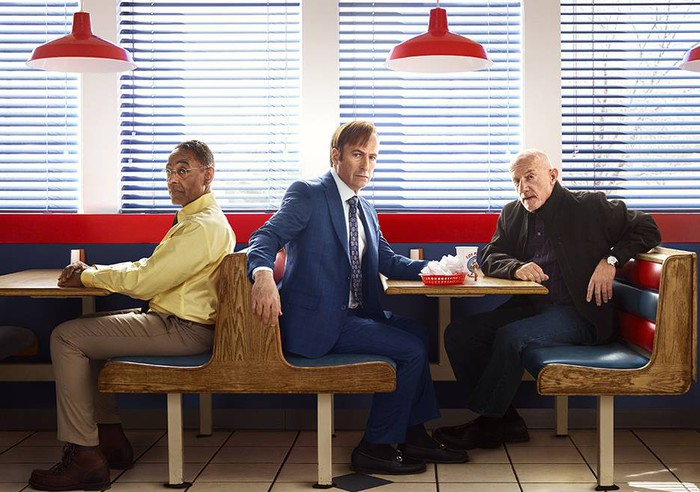 """Three """"Better Call Saul"""" characters appear in a cafe setting."""