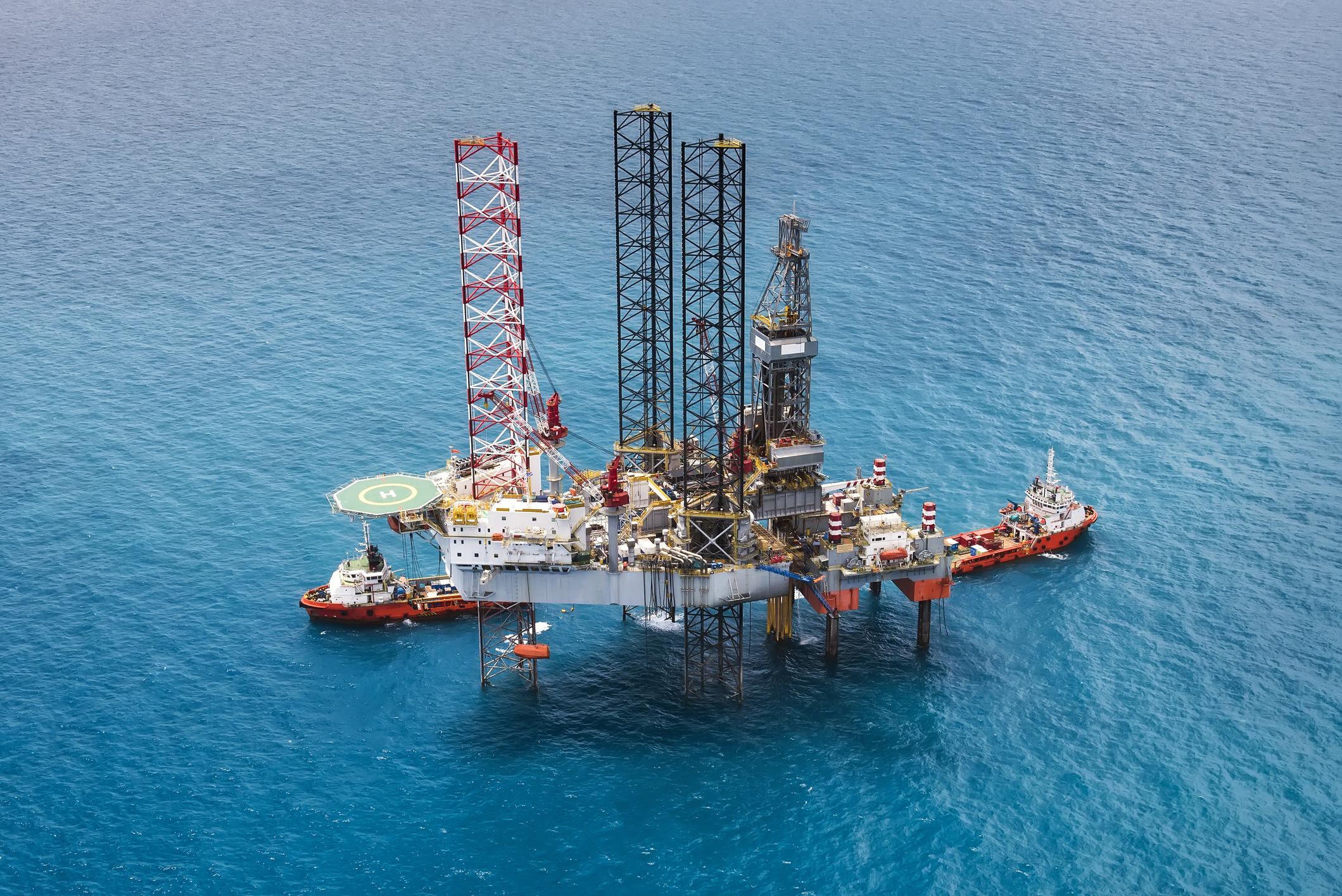 An offshore oil platform.