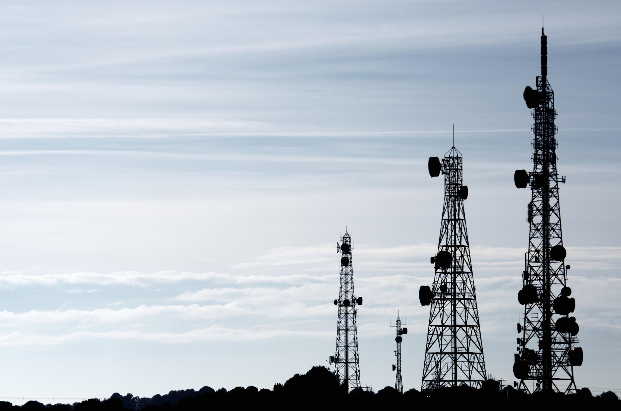 Wireless communication towers.