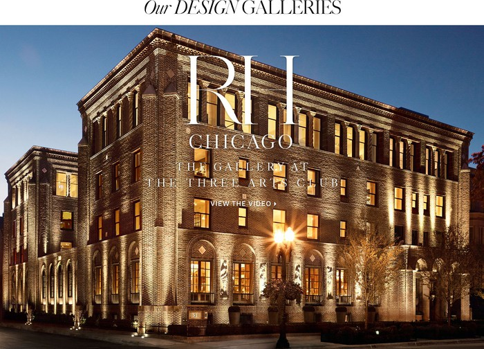 An ad features the exterior of an RH Galleries store.
