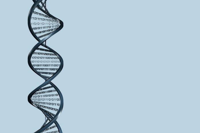 Strands of DNA connected with binary code.