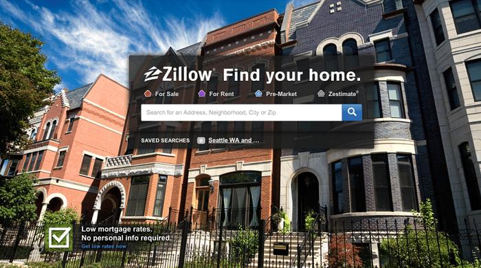 Zillow homepage screenshot