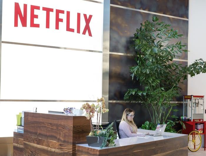 Netflix's lobby in Los Gatos, California