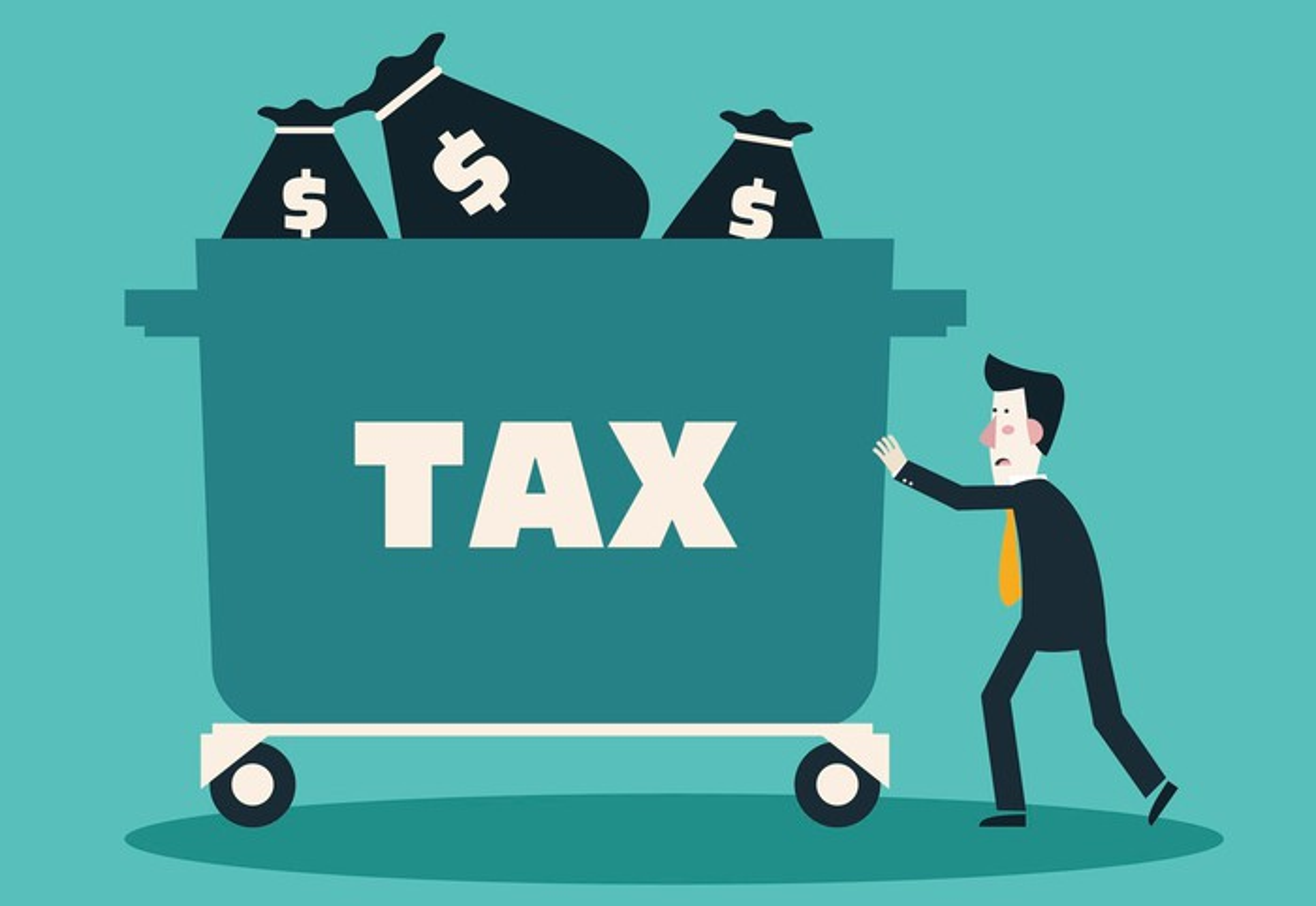 Man pushing cart full of tax dollars