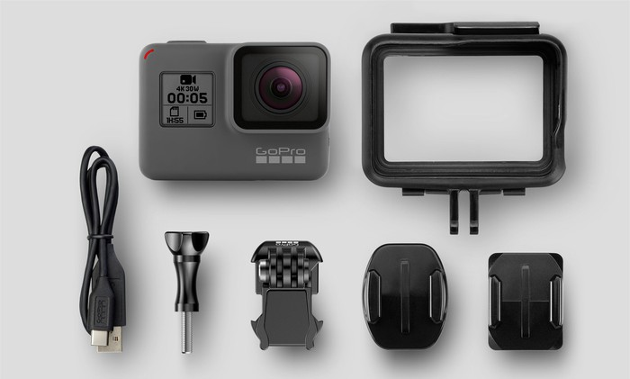 A Hero 5 Black camera with accessories.