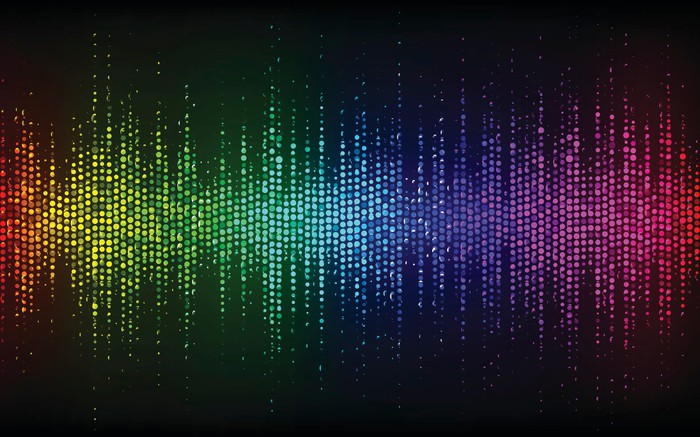 Abstract Sound Wave Background. Digital energy sound music equalizer with colored rainbow lights backdrop.