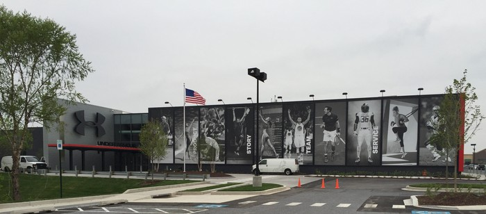 Under Armour's Building 37 with pictures of 10 UA athletes that extend the height of the building.