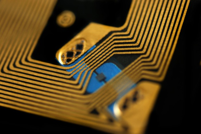 Close-up view of an RFID chip.