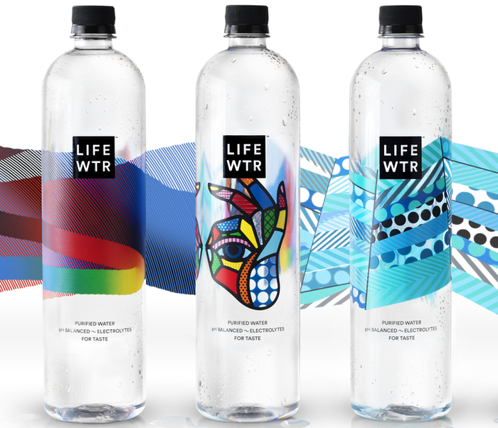 "Display of three bottles of PepsiCo's new enhanced water product ""LIFEWTR."""