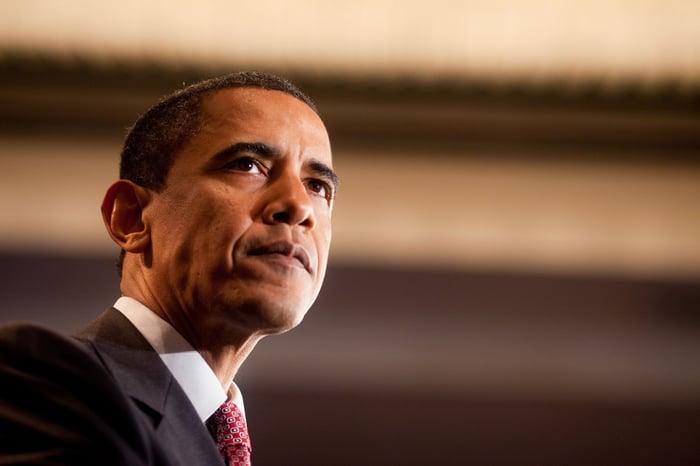 Former President Barack Obama giving a speech.