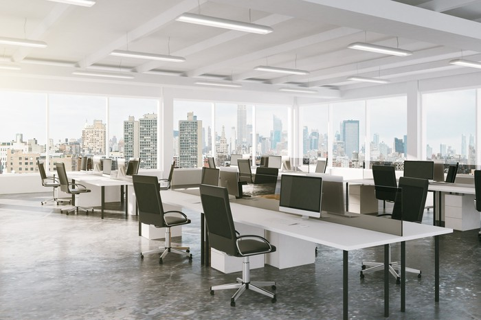 Modern office furniture in a high rise office building.