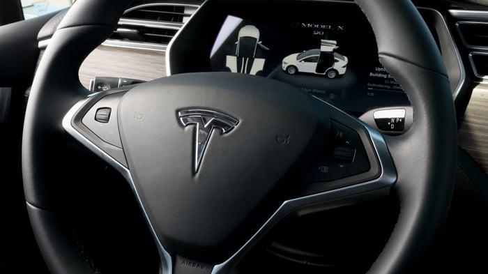Tesla logo on steering wheel